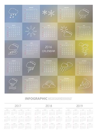 2016 Calendar  design template with weather icon set, vector eps10. Illustration