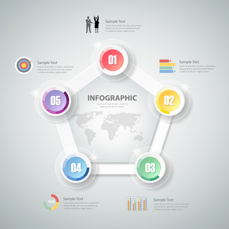 chronological: Design Infographic template for  bussiness concept Illustration