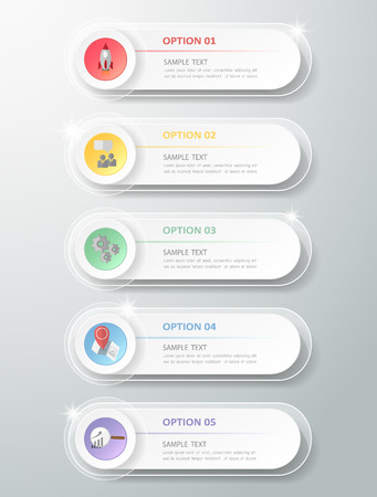 Design Infographic 5 steps template for  bussiness concept
