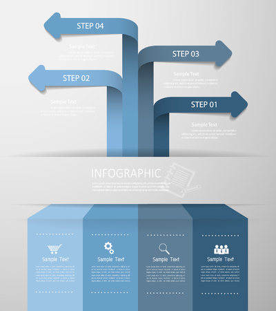 yearly: Abstract arrows 4 steps. Can be used for workflow layout, banner, diagram