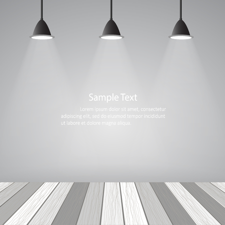 loft: Empty room loft style and white wooden floor.  Illustration