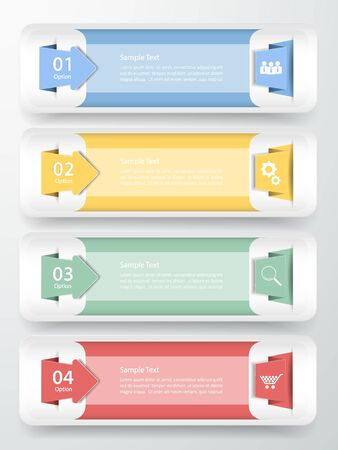 origimi: Abstract template 4 steps  for business design, reports, step presentation, number options, progress, workflow Illustration
