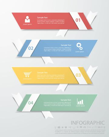 origimi: Abstract template 4 steps for business design, reports, step presentation, number options