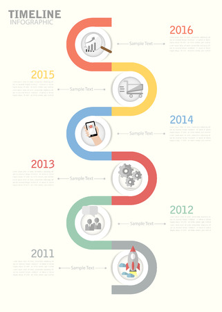 Timeline template for business design, reports, step presentation, number options, progress, workflow layout Illusztráció