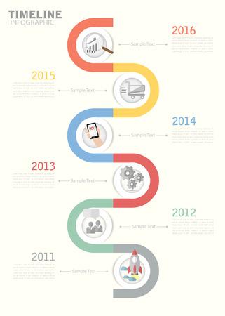 timeline: Timeline template for business design, reports, step presentation, number options, progress, workflow layout Illustration