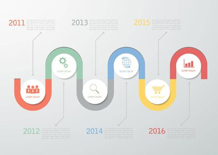 yearly: Timeline template for business design, reports, step presentation, number options, progress, workflow layout Illustration