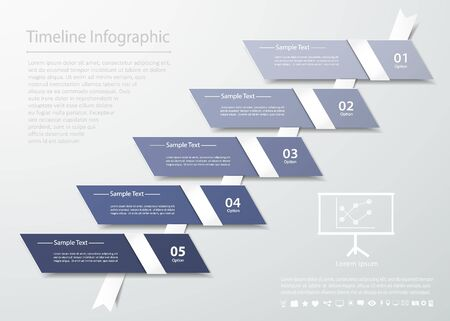 origimi: Abstract template 5 steps for business design, reports, step presentation, number options Illustration