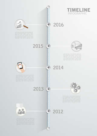 yearly: Timeline infographic for business design, reports, step presentation, number options, progress, workflow layout