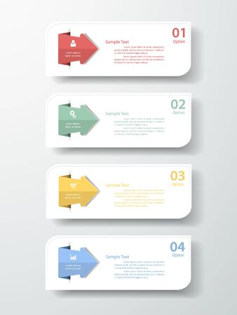 origimi: Design clean  template 4 steps. can be used for workflow layout, diagram, number options. Illustration