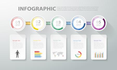 Diseñar infografía plantilla limpia. se puede utilizar para la disposición de flujo de trabajo, diagrama, opciones de números Ilustración de vector