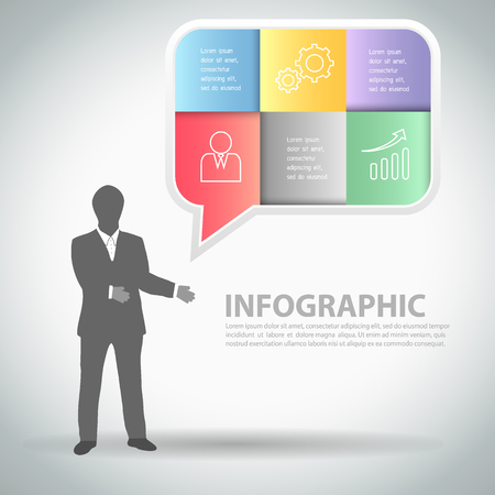conection: Abstract template business man with speech bubble,