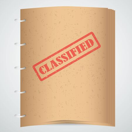 official: Classified red stamp text on brown paper