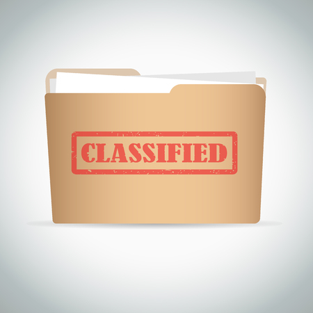 Classified red stamp text on brown folder