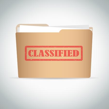 Geclassificeerd rode stempel tekst op bruine omslag