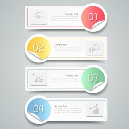 4 pasos plantilla infografía. se puede utilizar para la disposición de flujo de trabajo, diagrama, opciones de números Ilustración de vector