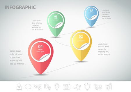yearly: 4 steps infographic template. can be used for workflow layout, diagram, number options Illustration