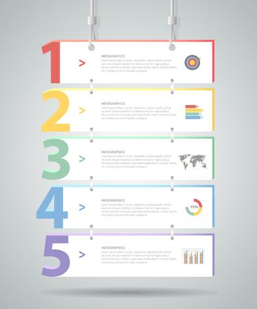 Design-Infografik-Vorlage 5 Stufen. für bussiness Konzept