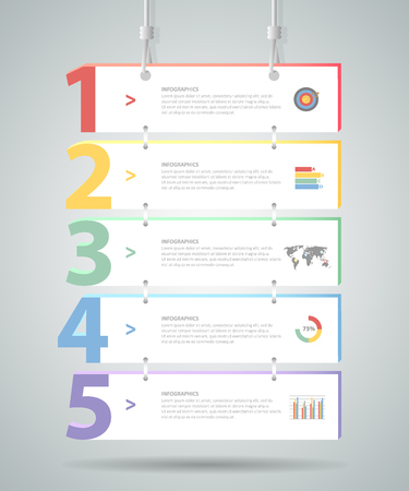 menus: Design Infographic template 5 steps. for bussiness concept