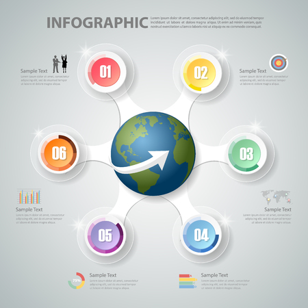 conection: Design Infographic 6 steps. can be used for workflow layout, diagram, number options, bussiness concept
