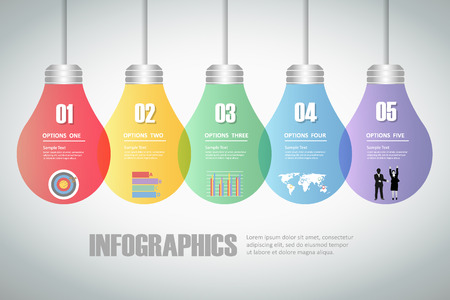 progress steps: Design lightbulb idea infographics 5 steps. Illustration