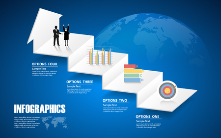 conection: 4 steps infographic template. can be used for workflow layout, diagram, number options Illustration