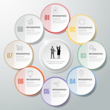 conection: Design infographic template 8 steps for business concept. Illustration