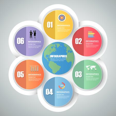 web design elements: Design infographic template 6 steps for business concept. Illustration
