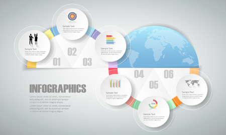 conection: 6 steps infographic template. can be used for workflow layout, diagram, number options, progress, timeline