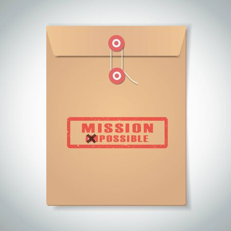 possible: Stamp mission possible with red text over brown document file