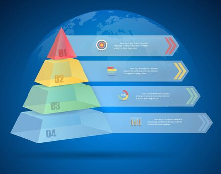 conection: Design pyramid infographic 4 steps. can be used for workflow layout, diagram, number options, bussiness concept