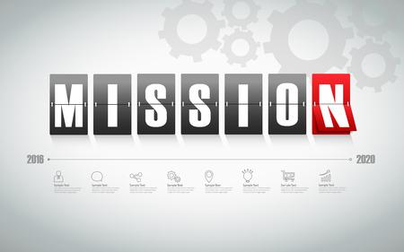 mision: Diseño de la placa con la misión de conjunto de iconos de concepto de negocio Vectores