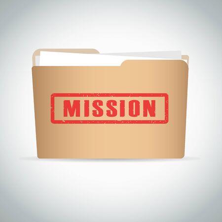 Stamp mission in red on brown folder