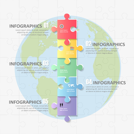 timeframe: Design infographic Puzzle template 5 steps for business concept.