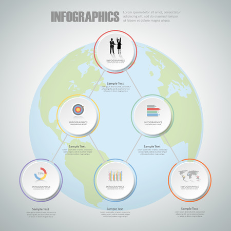 conection: Design infographic template 6 steps for business concept. Illustration