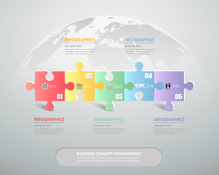 timeframe: Design infographic Puzzle template 4 steps for business concept.