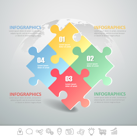 Design puzzle infographic template 4 steps for business concept.