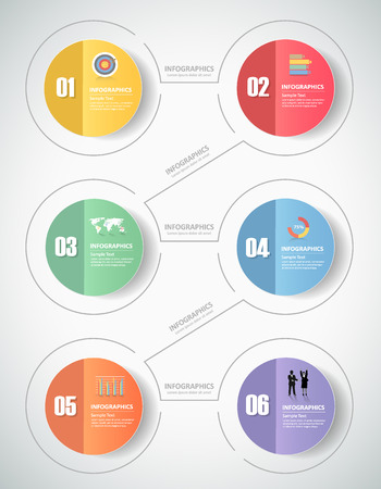 diagrama: 6 pasos plantilla infograf�a. se puede utilizar para el dise�o de flujo de trabajo, diagrama, opciones de n�meros, el progreso, la l�nea de tiempo Vectores