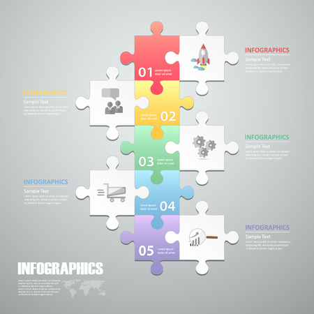 Puzzle 5 steps infographic template. can be used for workflow layout, diagram, number options, progress, timeline 矢量图像