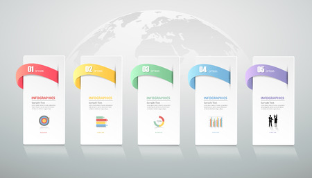 conection: Design infographic template 5 steps for business concept.