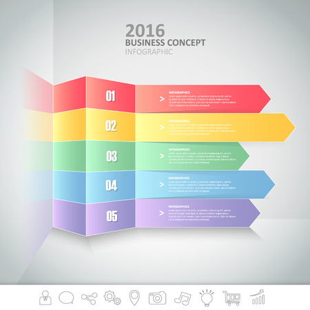5 steps infographic template. can be used for workflow layout, diagram, number options, progress, timeline Illustration