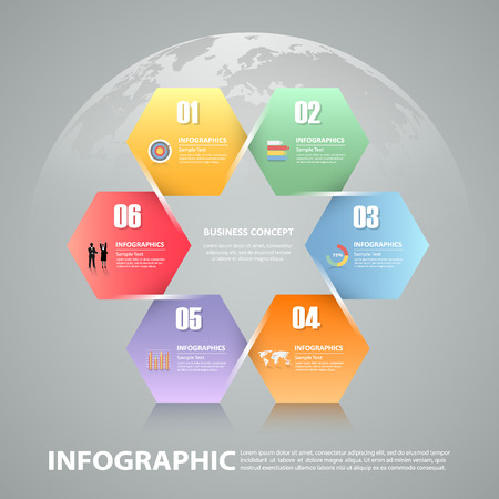 chronological: 6 steps infographic template. can be used for workflow layout, diagram, number options, progress, timeline