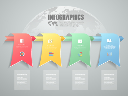 conection: 4 steps infographic template. can be used for workflow layout, diagram, number options, progress, timeline