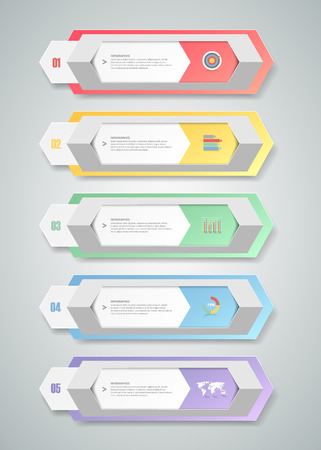 chronological: Design infographic template 5 steps for business concept.