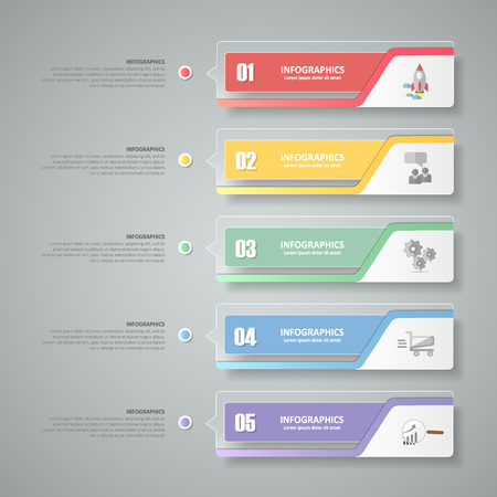 business value: Design infographic template 5 steps for business concept.