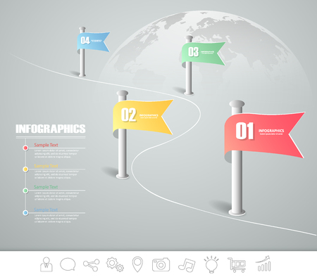 timeframe: Design infographic template 4 steps for business concept.