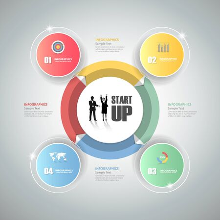 Design circle infographic 4 steps. can be used for workflow layout, diagram, number options, bussiness concept