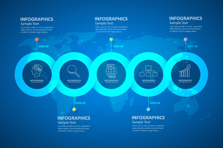 Entwerfen Infografik-Vorlage. kann für die Workflow-Layout, Diagramm, Anzahl Optionen verwendet werden, Fortschritt, Zeitplan