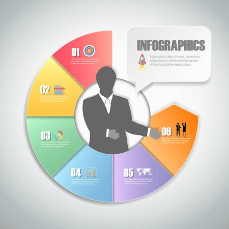 Design infographic template 6 steps for business concept. Illustration
