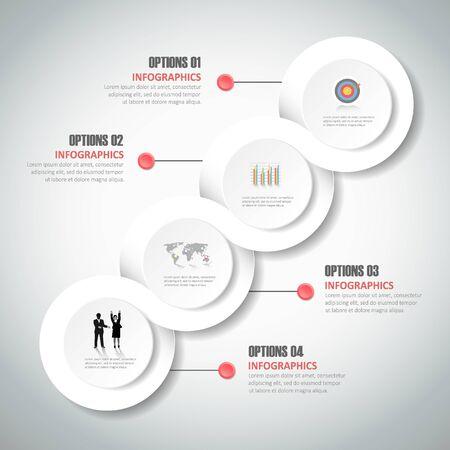 Entwerfen Infografik-Vorlage 4 Schritte für Business-Konzept.