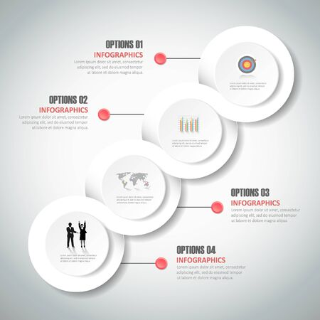 diagrama de procesos: Diseño de la plantilla infografía 4 pasos para el concepto de negocio.